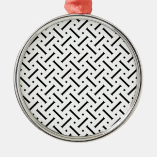 White And Black Plaid Silver-Colored Round Decoration