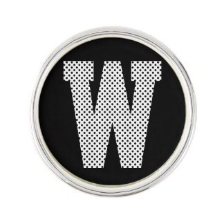 White and Black Polka Dot Monogram Lapel Pin