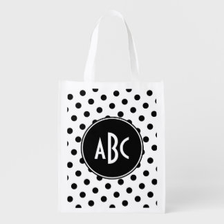 White and Black Polka Dot Monogram Reusable Grocery Bag