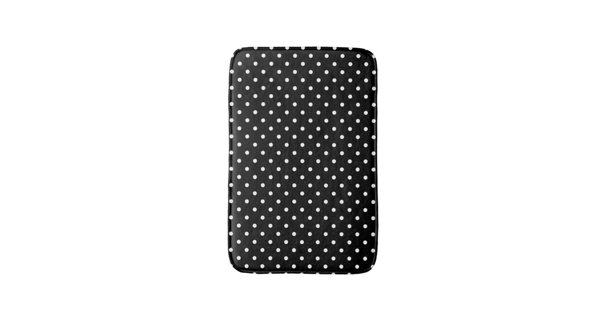 White And Black Polka Dot Pattern Bath Mats Zazzle