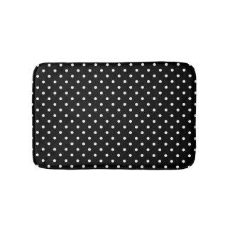 White and Black Polka Dot Pattern Bath Mats