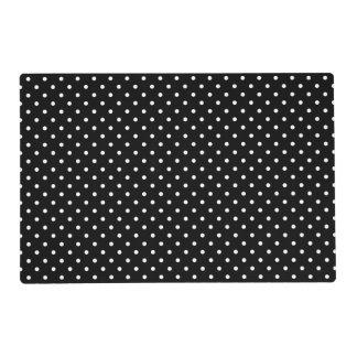 White and Black Polka Dot Pattern Laminated Place Mat