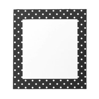 White and Black Polka Dot Pattern Notepad