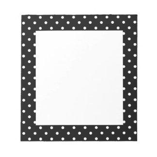 White and Black Polka Dot Pattern Notepad