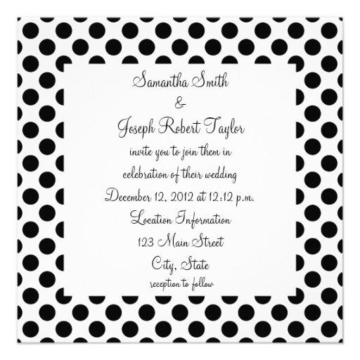 White and Black Polka Dot Wedding Announcement