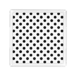 White and Black Polka Dots Acrylic Tray