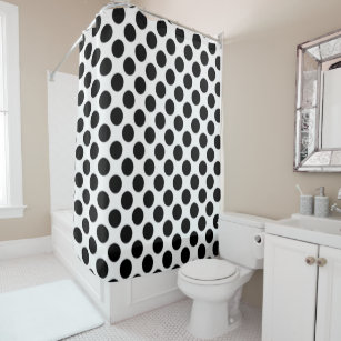 White And Black Polka Dots Shower Curtain