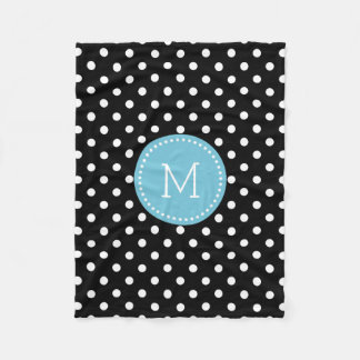 White And Black Polkadot Blue Accents Fleece Blanket