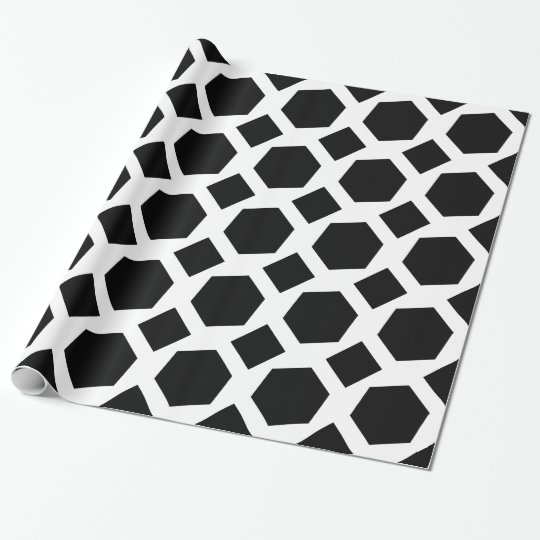 White and Black Polygons Wrapping Paper