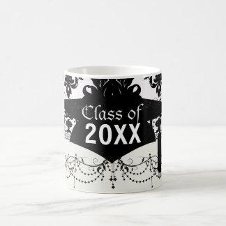 white and black romantic damask graduation basic white mug