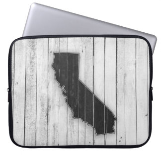 White and Black Rustic Country California State Laptop Sleeve
