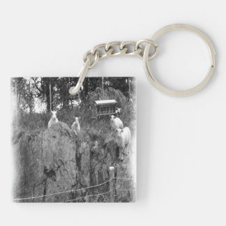 White and black sheep drawing acrylic key chain