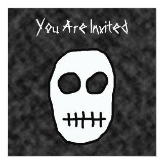 """White and Black Skull. Primitive. 5.25"""" Square Invitation Card"""