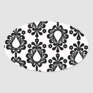 white and black small flower damask stickers