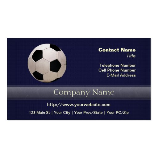 White and Black Soccer Ball Business Card Template