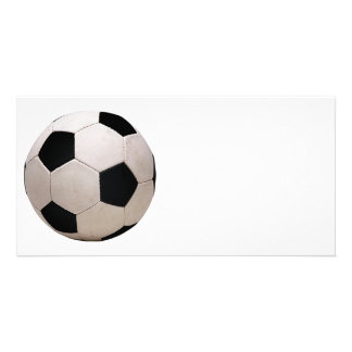 White and Black Soccer Ball Custom Photo Card