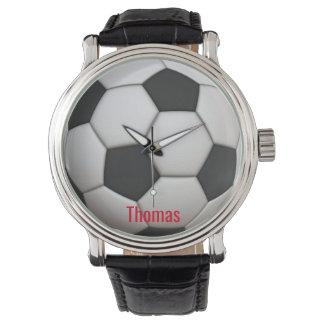 White and Black Soccer Ball Watch