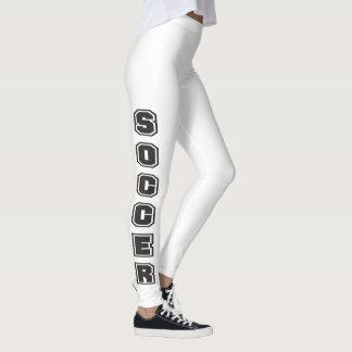 White and Black Soccer Design Leggings