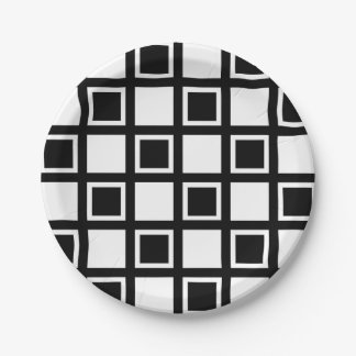 White and Black Squares Paper Plate