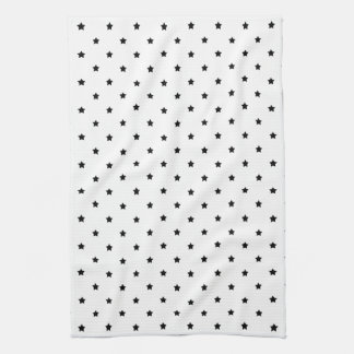 White and Black Star Pattern. Tea Towel