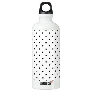 White and Black Star Pattern. Water Bottle