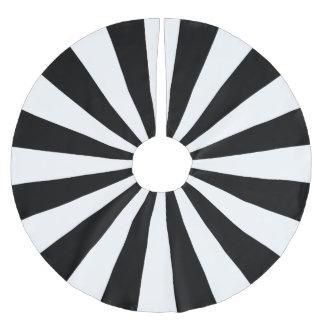 White and Black Starburst Stripes Brushed Polyester Tree Skirt