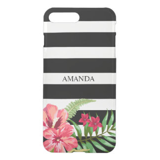 White And Black Stripes And Pink Hibiscus iPhone 7 Plus Case