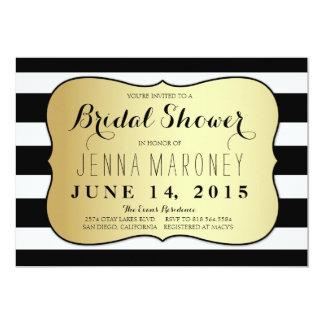 White and Black Stripes w/ Gold Foil Bridal Shower Card