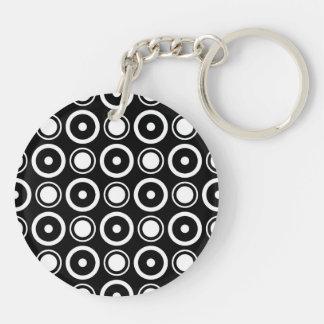 White and Black stylish polka dots white backgroun Double-Sided Round Acrylic Key Ring