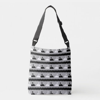 White and Black Swans with Hearts Crossbody Bag
