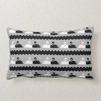 White and Black Swans with Hearts Lumbar Cushion