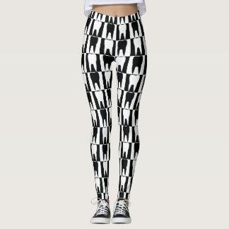 White and black teeth pattern leggings