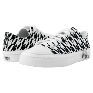 White and black teeth pattern low tops