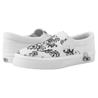 White and Black vintage damask pattern Slip-On Shoes