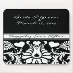White and Black  Vintage Floral Wedding MousePad