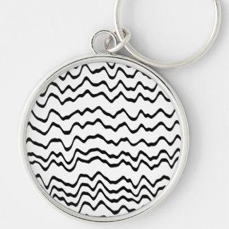 White and Black Waves Pattern. Key Ring