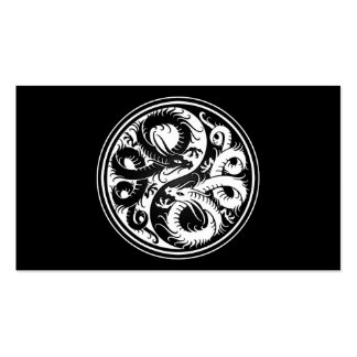 White and Black Yin Yang Chinese Dragons Business Card