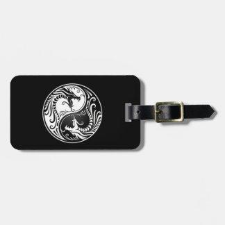White and Black Yin Yang Dragons Bag Tag