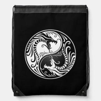 White and Black Yin Yang Dragons Drawstring Bag