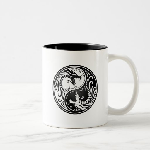 White and Black Yin Yang Dragons Mugs