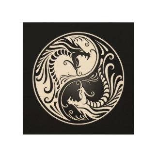 White and Black Yin Yang Dragons Wood Wall Art