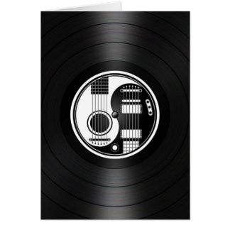 White and Black Yin Yang Guitars Vinyl Graphic Cards