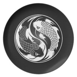 White and Black Yin Yang Koi Fish Plate