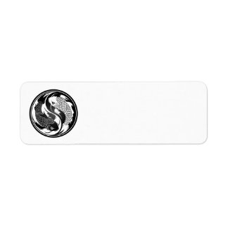 White and Black Yin Yang Koi Fish Return Address Label