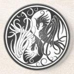 White and Black Yin Yang Phoenix Coasters