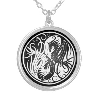 White and Black Yin Yang Phoenix Silver Plated Necklace