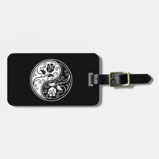 White and Black Yin Yang Roses Luggage Tag