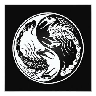 White and Black Yin Yang Scorpions 13 Cm X 13 Cm Square Invitation Card
