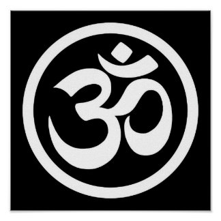 White and Black Yoga Om Circle Poster