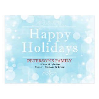 White And Blue Abstract Winter Happy Holidays Postcard